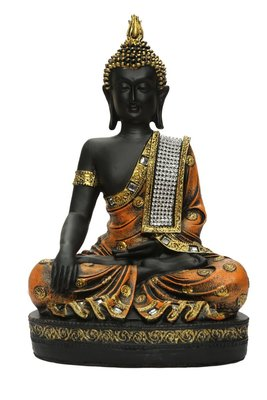 India Polyresine Sitting Buddha Showpiece Brown  and  Black