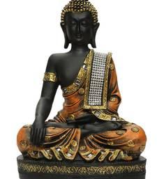 Buy India Polyresine Sitting Buddha Showpiece Brown  and  Black sculpture online