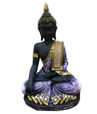 India Polyresine Sitting Buddha Showpiece Purple  and  Black