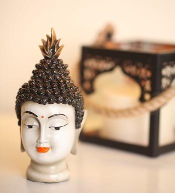 India Antique Buddha Head Idol (White)