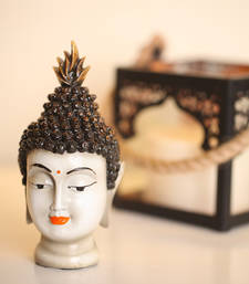 India Antique Buddha Head Idol (White)