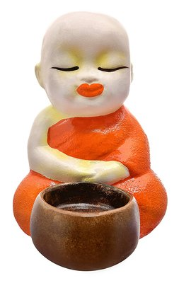 India Polyresine Sitting Monks Candle Holder