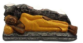 India Polyresine Sleeping Buddha with T LITES (Gold)