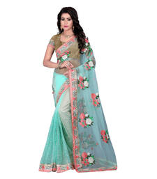 Buy Light turquoise embroidered net saree with blouse net-saree online