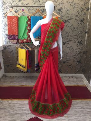 Red Ribbon Flower Chiffon Saree With Blouse