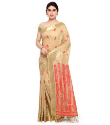 Buy Cream woven khadi saree with blouse chanderi-saree online