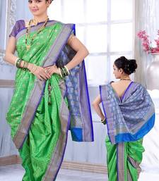Buy Green woven poly cotton silk traditional nauvari-saree Woman online