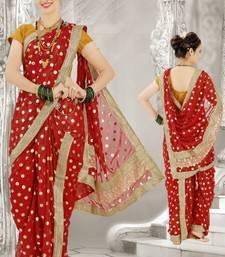 Buy Red woven poly cotton silk traditional nauvari-saree nauvari-saree online