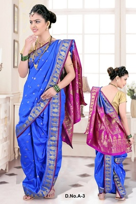 Blue woven poly cotton silk traditional nauvari-saree