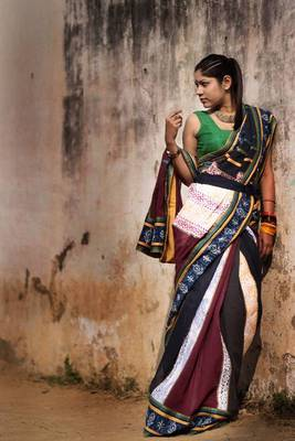 Blue maroon multicolored saree