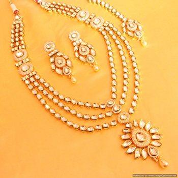 Kundan Meenakari Beautiful Long Wedding Necklace Set