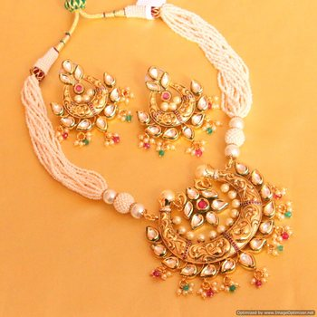 Royal Kundan Meenakari Multicolour Necklace Set