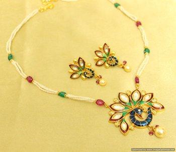 Kundan Meenakari Peacock Polki Necklace Set