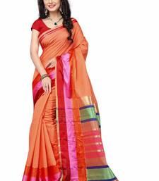 Buy orange printed banarasi saree with blouse banarasi-saree online
