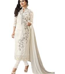 White embroidered faux cotton unstitched salwar with dupatta