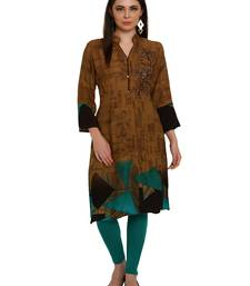 Buy Brown embroidered rayon party-wear-kurtis party-wear-kurtis online