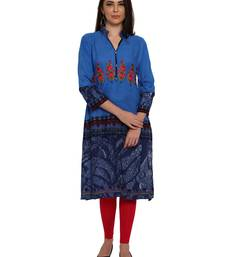 Buy Blue embroidered rayon party-wear-kurtis party-wear-kurtis online