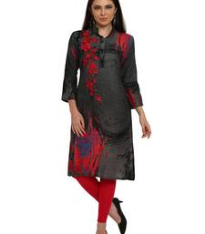 Buy Grey embroidered rayon party-wear-kurtis party-wear-kurti online