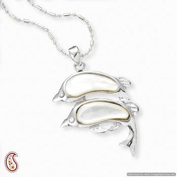 Twin Dolphin Shell Pendant