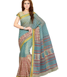 Buy Beige printed cotton saree with blouse cotton-saree online