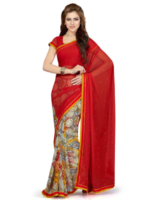 Off white printed faux chiffon saree with blouse