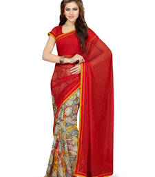 Buy Off white printed faux chiffon saree with blouse chiffon-saree online