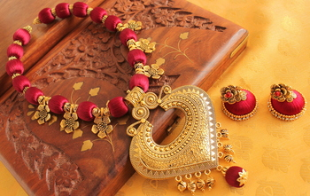Beautiful Handmade Silk Thread Red Designer Necklace Set