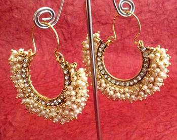 Chandni pearl golden finish ethnic bali hoop Indian ethnic jewelry earring v743