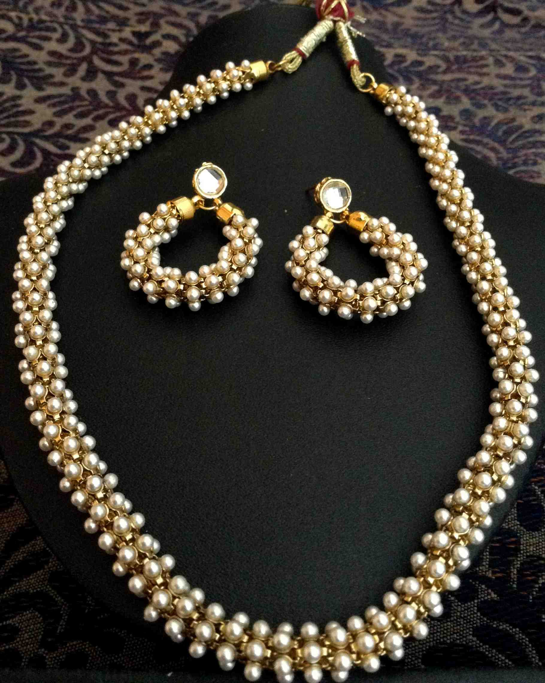 e11f6cf668a Beautiful Chandni Pearls Woven in Golden Metal Indian Pearl Necklace Set  d20 - Dancing Girl - 166055