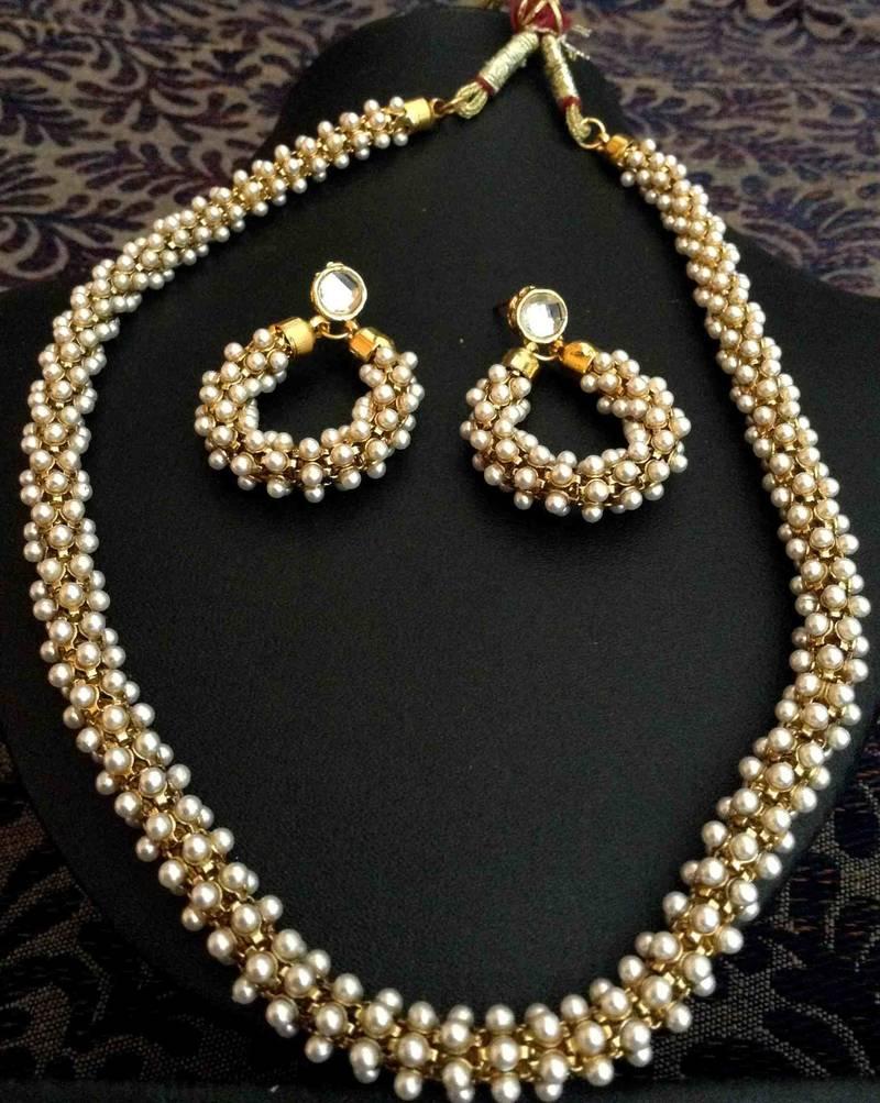 Beautiful Chandni Pearls Woven In Golden Metal Indian