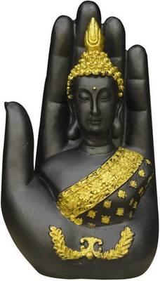 India Antique Gold & Black Palm Buddha Showpiece