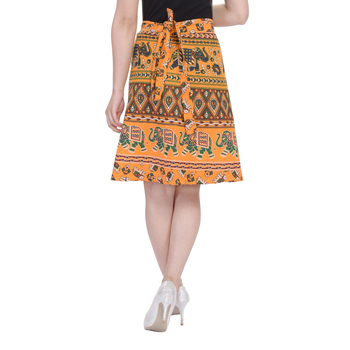 Yellow printed Cotton Rajasthani skirts