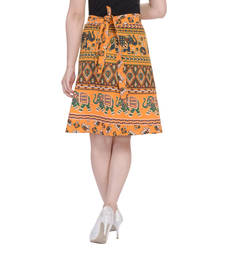 Buy Yellow printed Cotton Rajasthani skirts short-skirt online