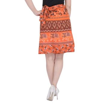 Orange printed Cotton Rajasthani skirts