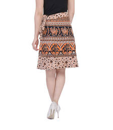 Buy Beige printed Cotton Rajasthani skirts short-skirt online