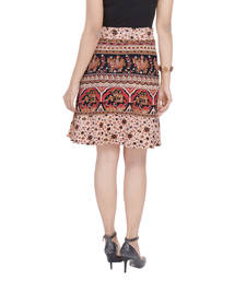 Beige printed Cotton Rajasthani skirts