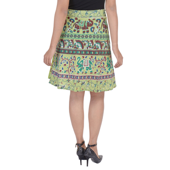 Green printed Cotton Rajasthani skirts