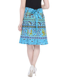 Turquoise printed Cotton Rajasthani skirts