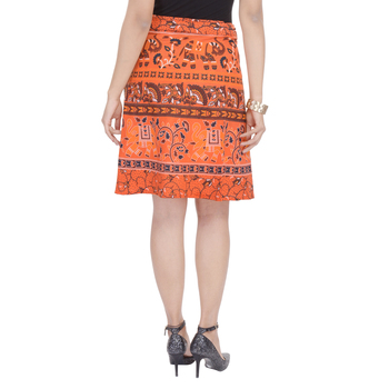 Orange printed Cotton Rajasthani skirts