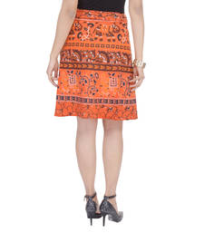 Buy Orange printed Cotton Rajasthani skirts short-skirt online