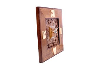 Hand Crafted Antique Square Shape Wooden Wall Clock