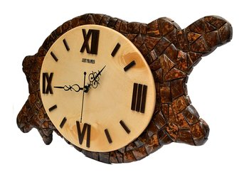 Hand Crafted Antique Asymmetric Shape Wooden Wall Clock