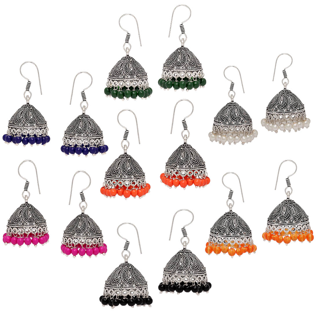 ca92d24b6b9 Oxidised silver plated multi color beads brass earrings combo set of 7  pairs jewellery