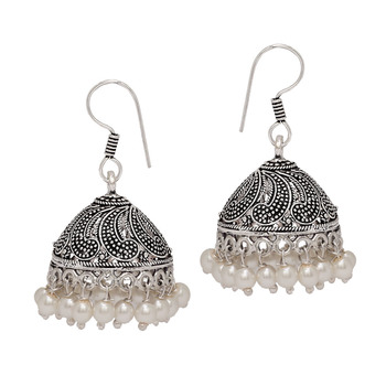 Oxidised Silver Plated White Beads Brass Earrings Jewellery