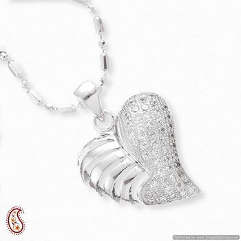 Silver Heart with CZ finish Pendant