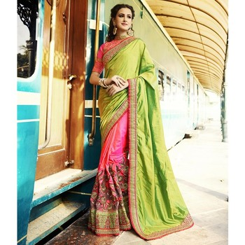 6cea2cefc7414 parrot green embroidered pure tussar silk saree with blouse - RADHEY ARTS -  1921600