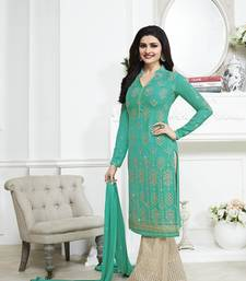 Buy Sea green embroidered georgette semi stitched salwar with dupatta black-friday-deal-sale online