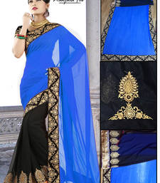 Buy STUNING  BLUE N BLACK SAREE other-actress-saree online