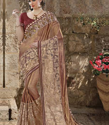 Buy Light brown embroidered georgette saree with blouse wedding-saree online