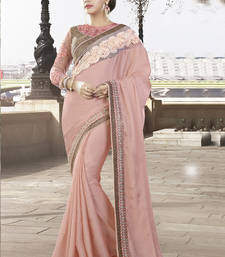 Buy Pink embroidered art silk saree with blouse wedding-saree online